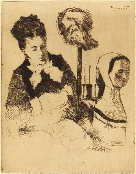 1854 Drawing - Norbert Goeneutte French, 1854 - 1894, The Milliner La by Quint Lox