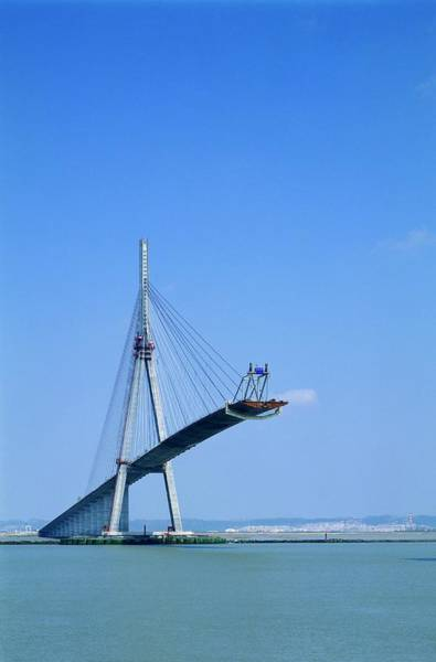 Cable-stayed Bridge Photograph - Normandy Bridge Under Construction by Alex Bartel/science Photo Library