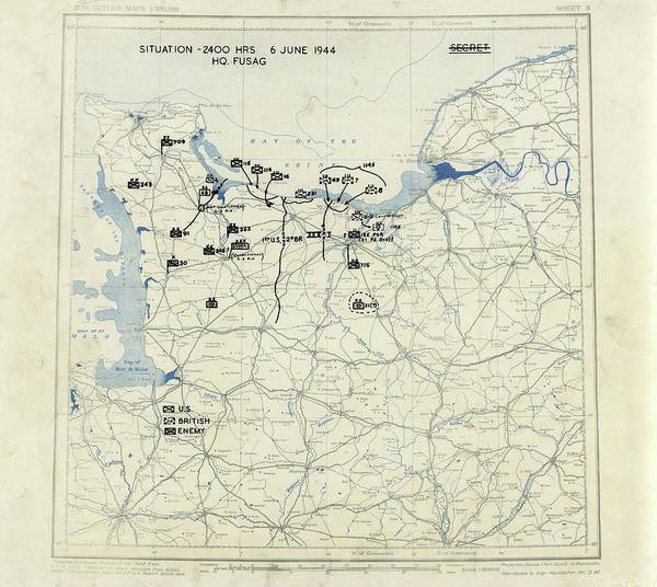 Wall Art - Photograph - Normandy Campaign Map by Library Of Congress, Geography And Map Division