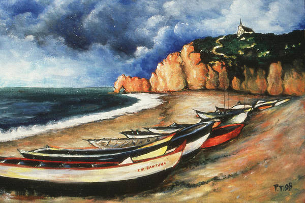 Drawing - Normandy Coast - Landscape Oil by Peter Potter