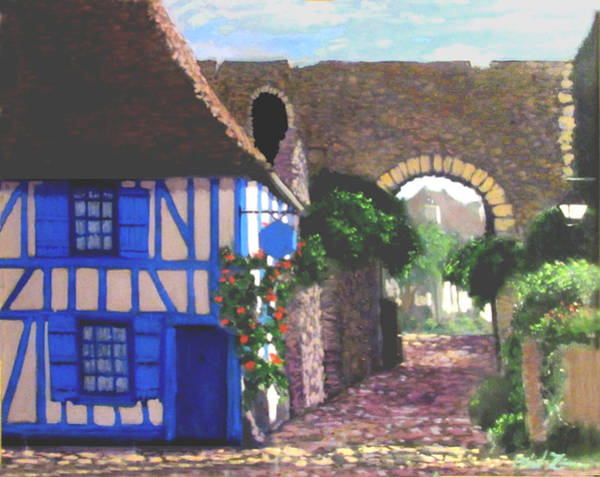 Half Timbered Painting - Normandy by David Zimmerman