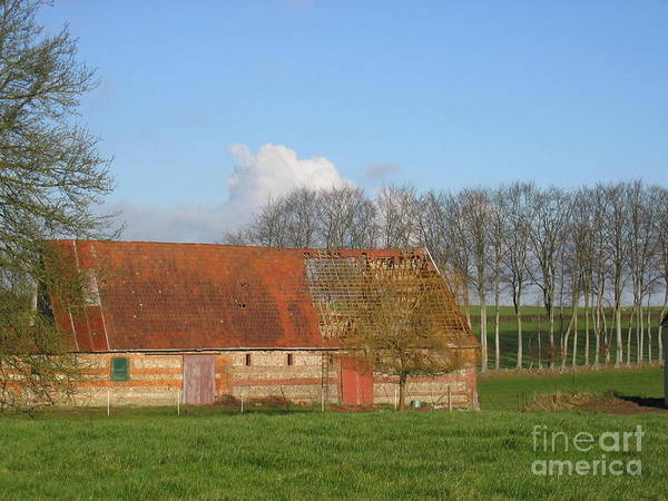 Normandy Storm Damaged Barn Art Print