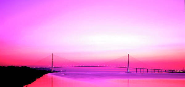 Cable-stayed Bridge Photograph - Normandy Suspension Bridge by Alex Bartel/science Photo Library