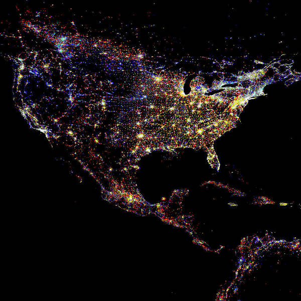 Wall Art - Photograph - North America At Night by Noaa/science Photo Library