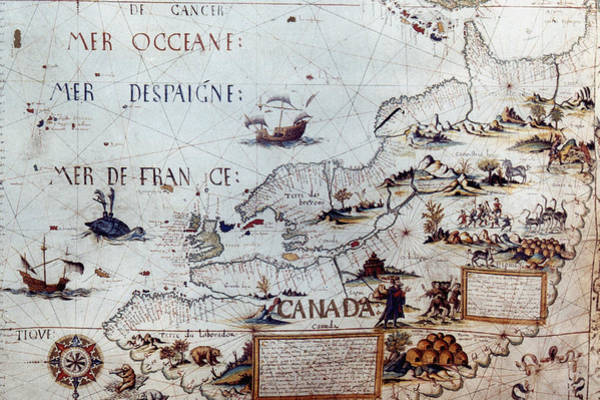 Wall Art - Painting - North America Map, 1550 by Granger