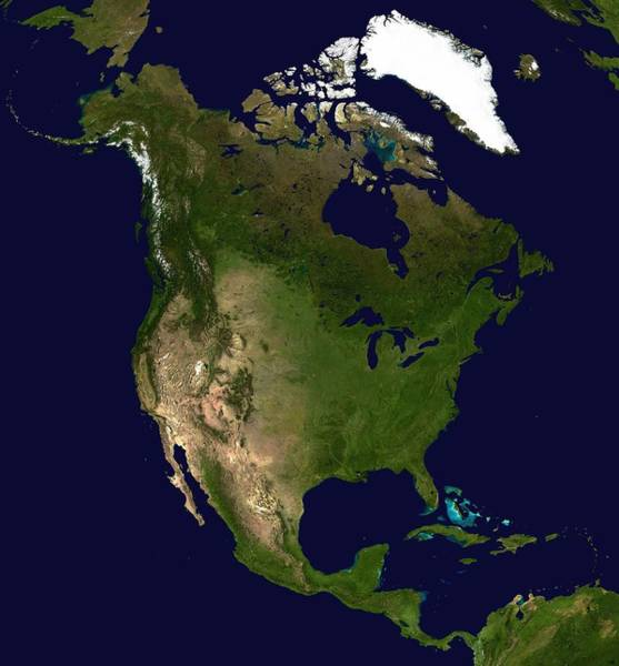 Satellite Photograph - North America Satellite Image  by Anonymous