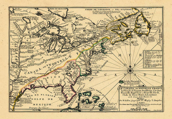 North America, United States, New York, Canada, Pennsylvania, Virginia, North Carolina, 1702 Art Print by Historic Map Works LLC and Osher Map Library