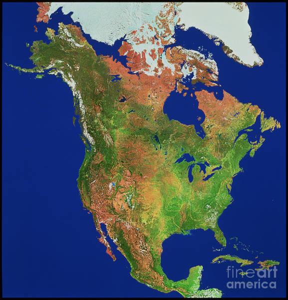 Photograph - North America by WorldSat International Inc
