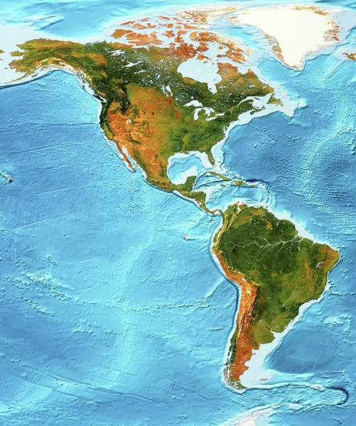 High Resolution Wall Art - Photograph - North And South America by Planetary Visions Ltd/science Photo Library