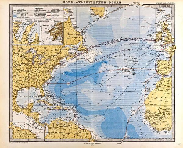 Atlantic Ocean Drawing - North Atlantic Ocean Map Gotha Justus Perthes 1872 Atlas by English School