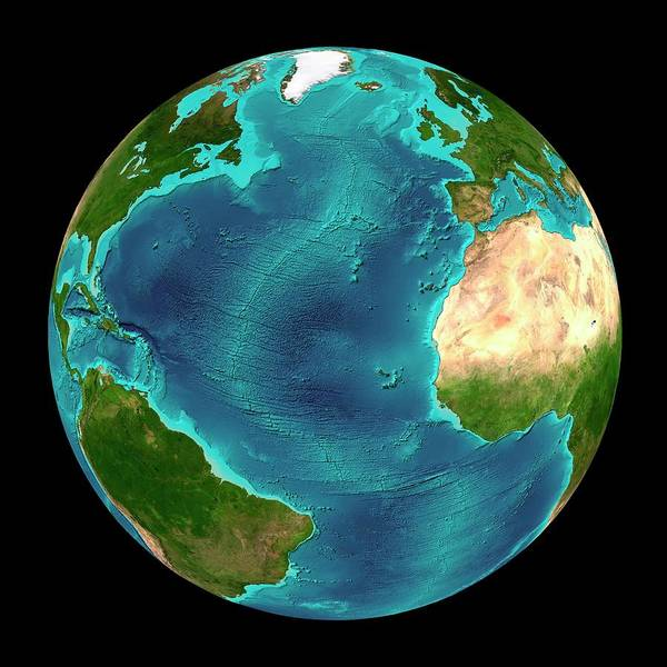 Mid-atlantic Photograph - North Atlantic Ocean Seafloor Map by Martin Jakobsson/science Photo Library
