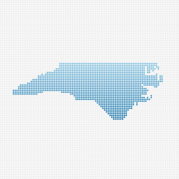 North Carolina Map Blue Dot Pattern Art Print by FrankRamspott