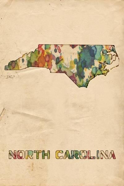 Painting - North Carolina Map Vintage Watercolor by Florian Rodarte