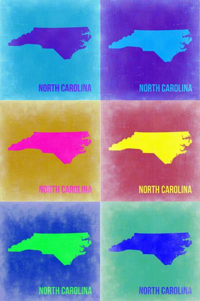North Painting - North Carolina Pop Art Map 2 by Naxart Studio