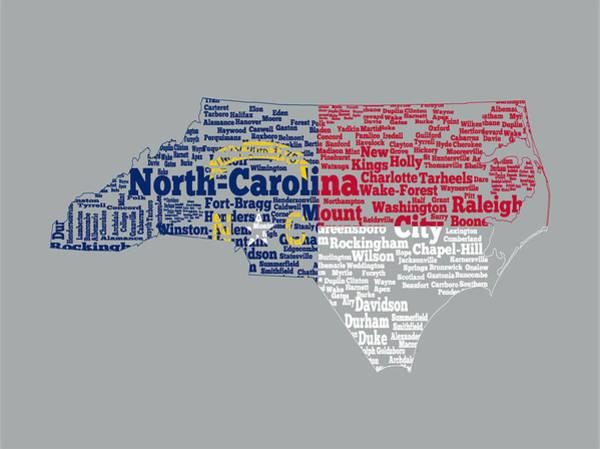 Wake Digital Art - North Carolina State Flag Word Cloud by Brian Reaves
