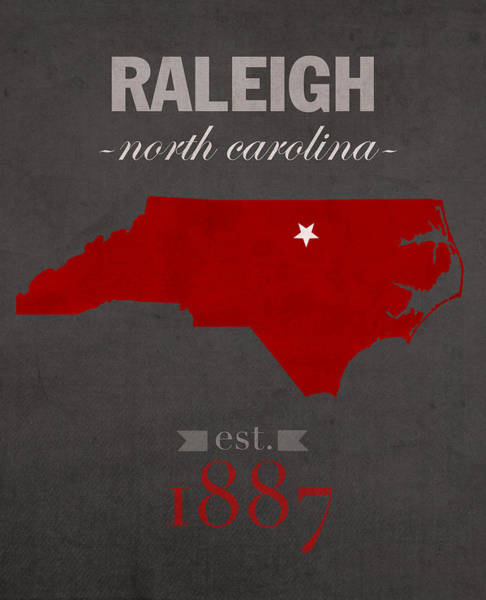 Nc State Wall Art - Mixed Media - North Carolina State University Wolfpack Raleigh College Town State Map Poster Series No 077 by Design Turnpike