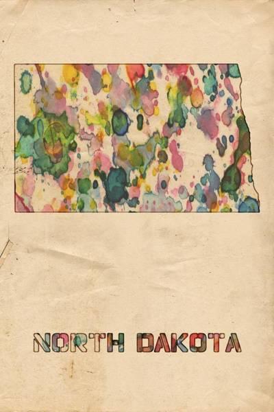 North Dakota Painting - North Dakota Map Vintage Watercolor by Florian Rodarte