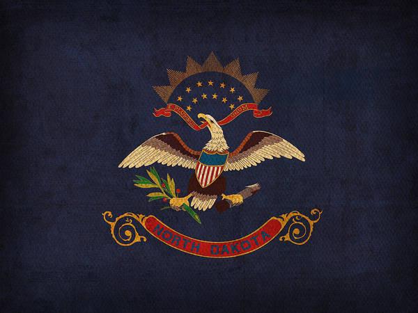 Wall Art - Mixed Media - North Dakota State Flag Art On Worn Canvas by Design Turnpike