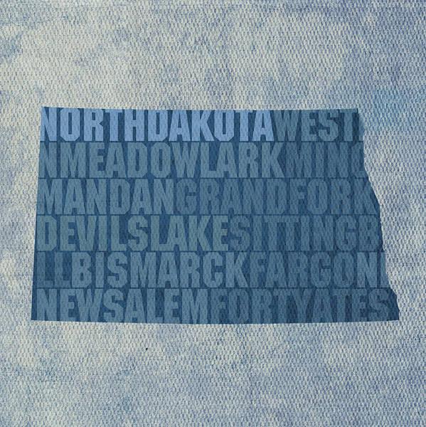 North Dakota Wall Art - Mixed Media - North Dakota Word Art State Map On Canvas by Design Turnpike