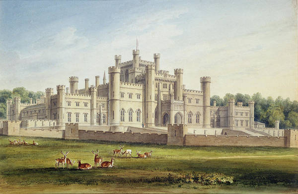 Deer Drawing - North East View Of Lowther Castle by John Buckler