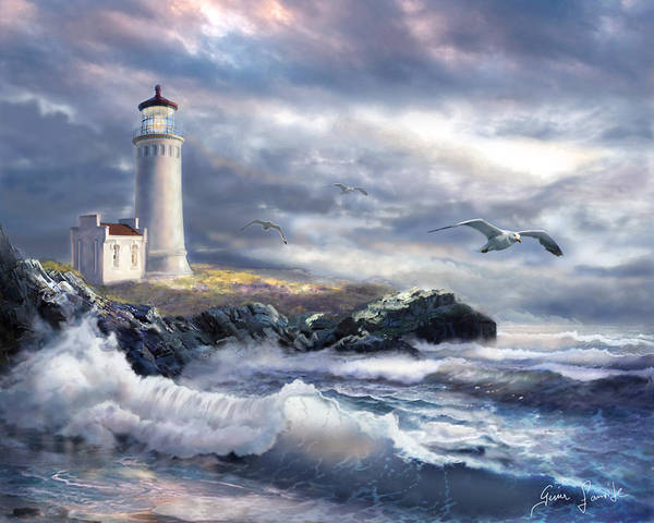 Gina Femrite Wall Art - Painting - North Head Lighthouse At The Eve Of A Storm by Regina Femrite