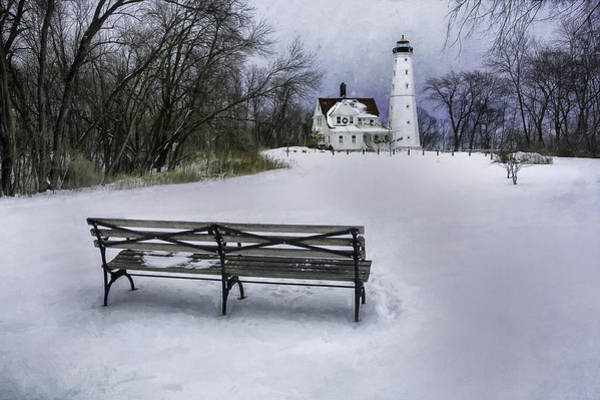 Midwest Photograph - North Point Lighthouse And Bench by Scott Norris