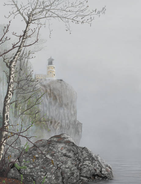 Digital Art - North Shore Lighthouse In The Fog by Troy Stapek