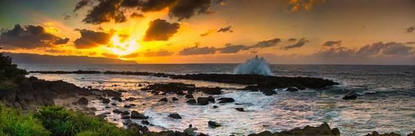 North Shore Sunset Crashing Wave Art Print