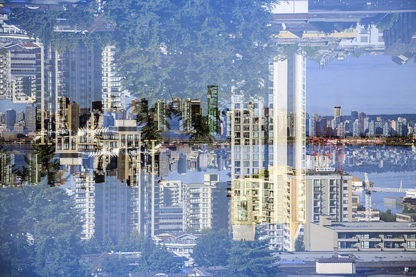 Multiple Exposure Digital Art - North Vancouver Up Side Down by Diane Dugas