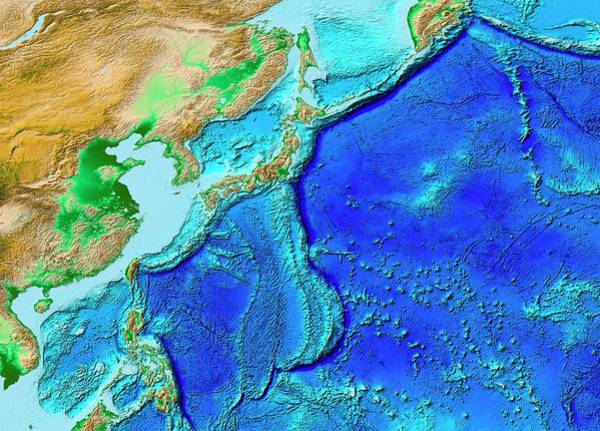 Kamchatka Photograph - North-west Pacific Topography by Noaa/science Photo Library