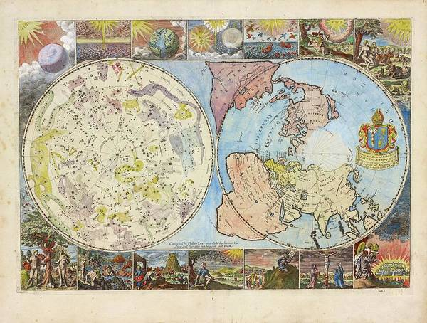 Juxtaposition Photograph - Northern Hemisphere Map by Lionel Pincus And Princess Firyal Map Division/new York Public Library