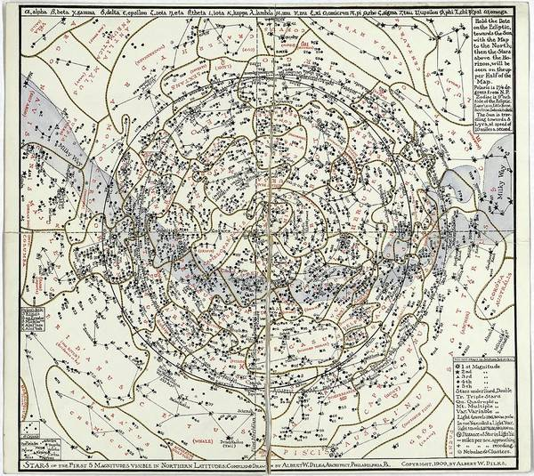 First Star Photograph - Northern Hemisphere Star Chart by Library Of Congress, Geography And Map Division