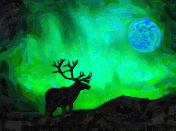 Alpine Meadow Painting - Northern Lights And The Elk by Celestial Images