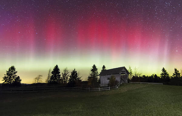Photograph - Northern Lights Over Foster Covered  Bridge Cabot Vt by John Vose