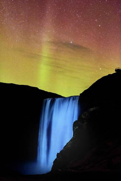 Wall Art - Photograph - Northern Lights Over Skogafoss Waterfall by Babak Tafreshi/science Photo Library