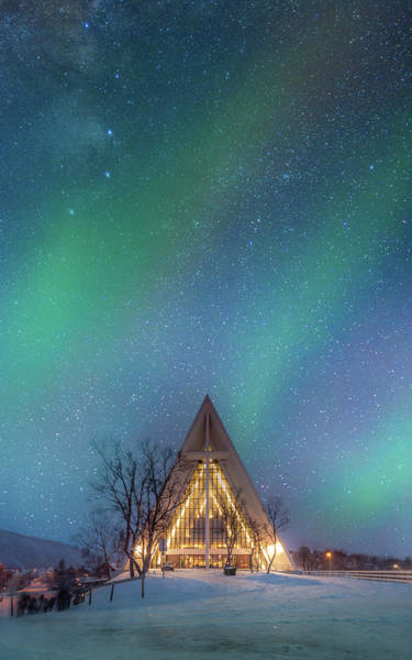Christianity Photograph - Northern Lights Over The Arctic by Coolbiere Photograph