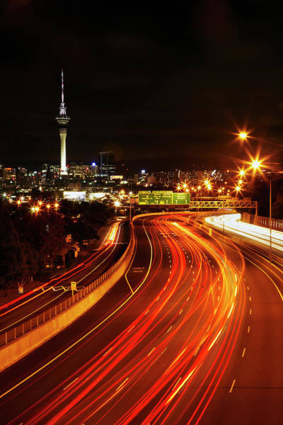 Commute Photograph - Northern Motorway And Skytower by David Wall