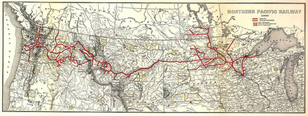Wall Art - Photograph - Northern Pacific Railway Map  1900 by Daniel Hagerman