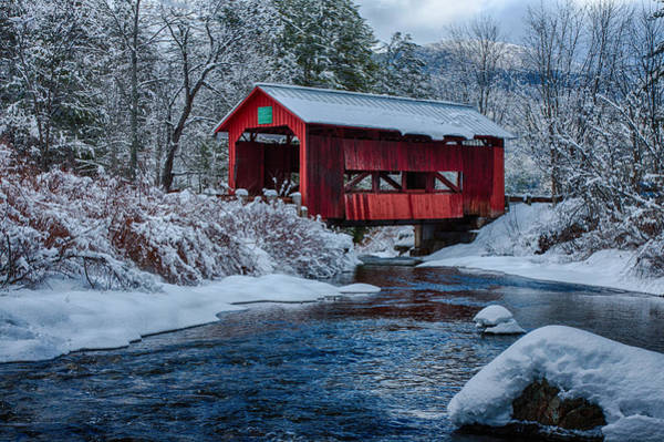 Red Covered Bridge Photograph - Northfield Vermont Covered Bridge by Jeff Folger