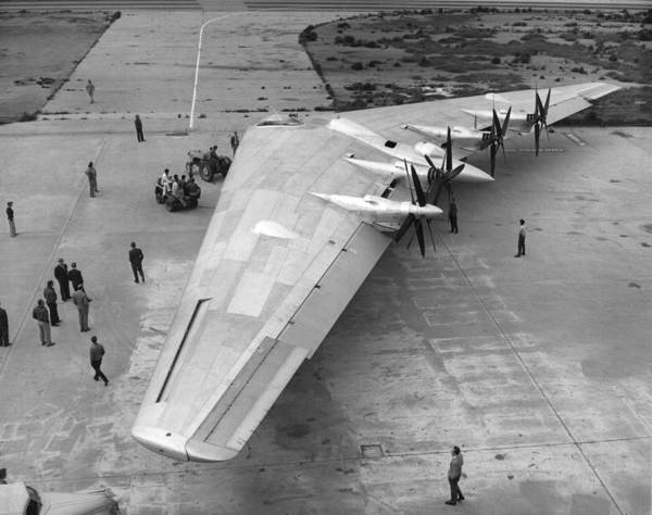 Runway Photograph - Northrop's Flying Wing Bomber by Underwood Archives