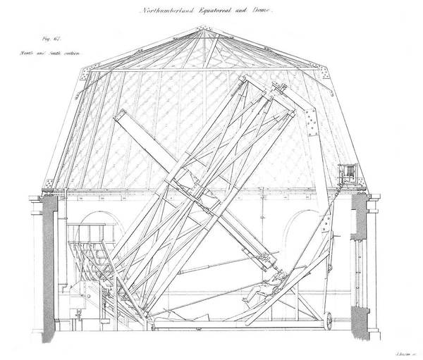 1838 Photograph - Northumberland Telescope Diagram by Royal Astronomical Society/science Photo Library
