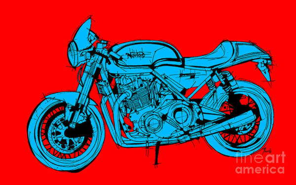 Wall Art - Drawing - Norton Commando Blue And Red by Drawspots Illustrations