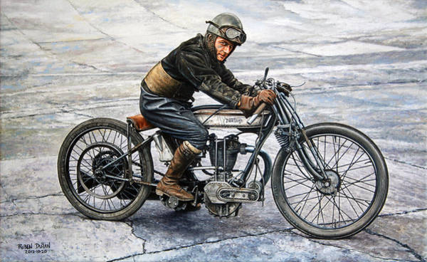 Races Painting - Norton Rider by Ruben Duran