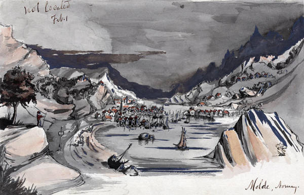 Fjord Drawing - Norway, C1856 by Granger