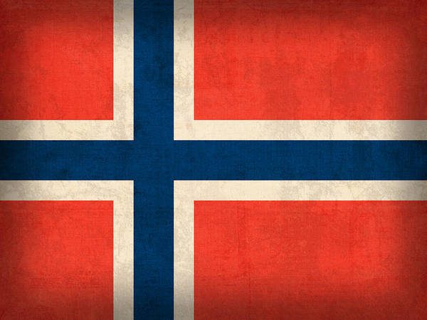 Nation Mixed Media - Norway Flag Distressed Vintage Finish by Design Turnpike