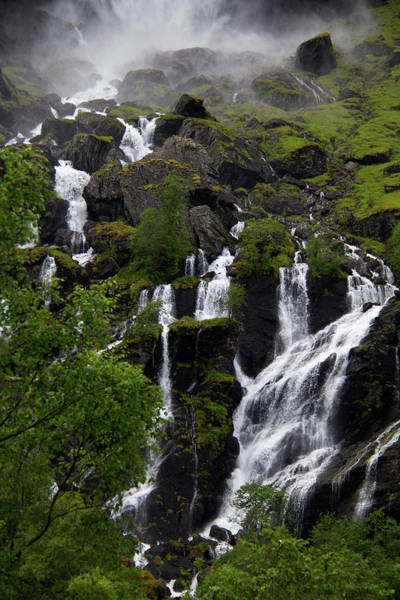 Wilt Photograph - Norway, Flam Lush Waterfall In Flam by Kymri Wilt