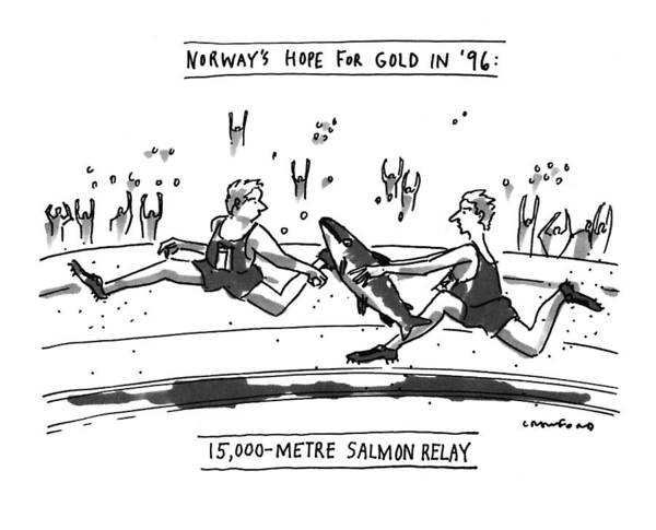 Salmon Drawing - Norway's Hope For Gold In '96: 15 by Michael Crawford