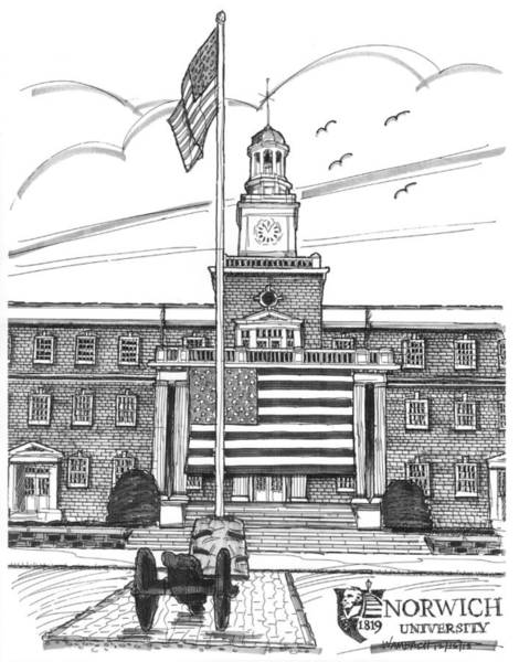 Drawing - Norwich University Jackman Hall by Richard Wambach