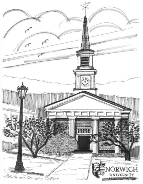 Drawing - Norwich University White Chapel by Richard Wambach