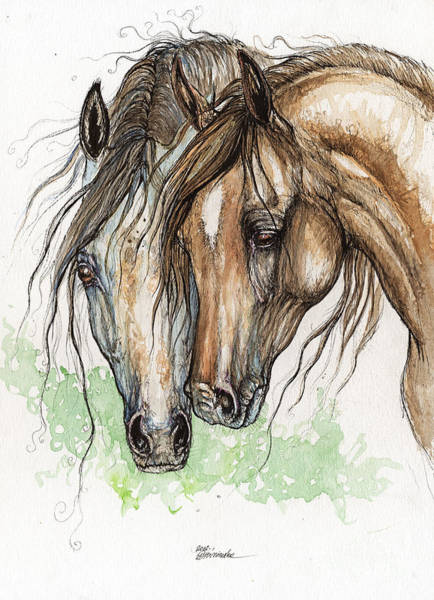 Arab Horse Painting - Nose To Nose Watercolor Painting by Angel Ciesniarska